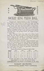 Advert for Robert Maynard's socket ring press roll